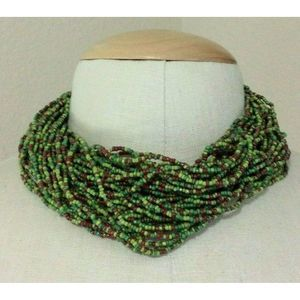 Chunky Necklace Multi Strand Sead Bead Green Brown